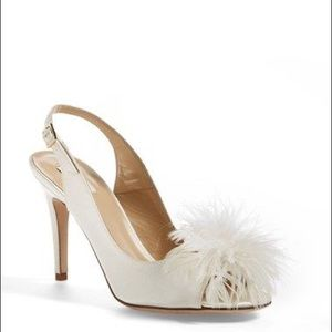 KATE SPADE 'Cyprus' Ivory Satin Feather Slingbacks